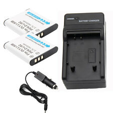 TWO Battery For Olympus Li-50B DLI92 Stylus 1010 1020 Pentax RICOH X 2 + Charger