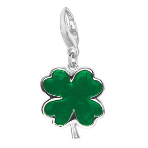 Sterling silver green enamel four leaf clover charm ebay for Pandora jewelry salt lake city