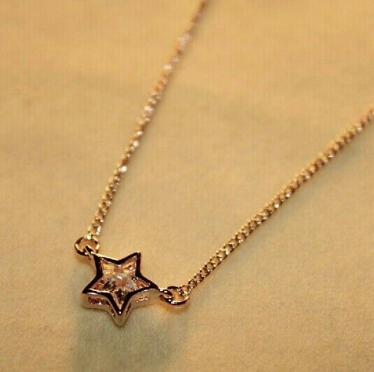18K GP White Gold Plated Swarovski Crystal Element Stereo Inlay Star Necklace