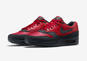 design intemporel b0437 79cd2 Détails sur Nike Air Max 1 QS Gym Rouge Noir Bred Jordan Cuir 90 Force  Baskets