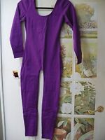 Purple Grape Sz Md Cotton Dance Catsuit Long Sleeve Unitard Leotard W/ Legs