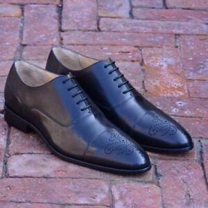 Black-derbies-homme-Richelieu-a-Chaussures-formel-parti-italien-fait-main-Cuir-Veau-Chaussures