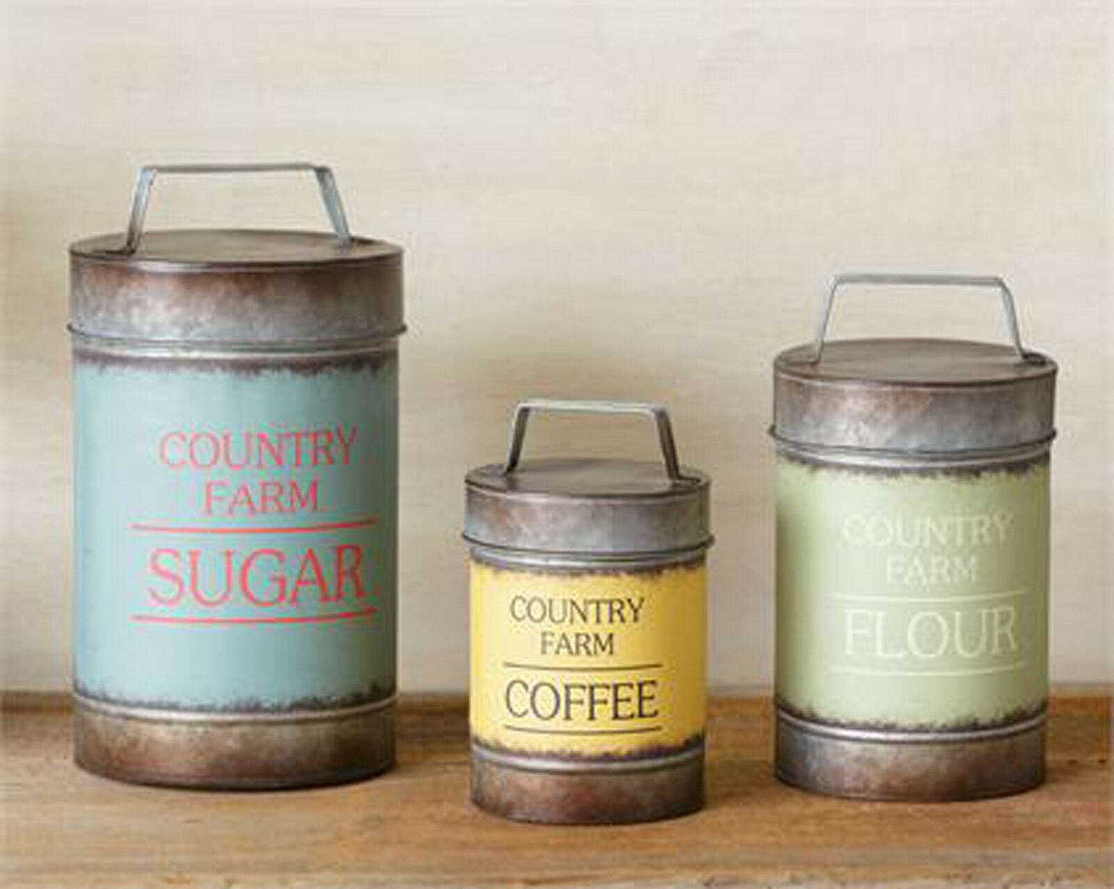 3pc Canister Set Set Set Sugar Flour Coffee Country Farm Metal Canisters Rustic Decor 1dda34