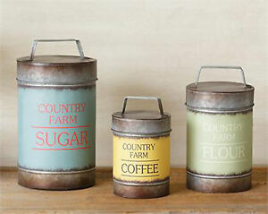 3pc Canister Set Sugar Flour Coffee Country Farm Metal