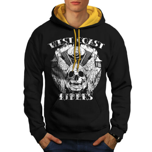 gold Contrast Death Men Hood Rider New Black Biker Hoodie Skull v8RdqwI