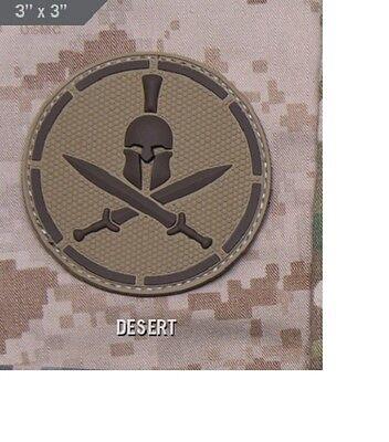 Milspec Monkey MSM Morale Patch SPARTAN Shield with HELMET - DESERT Tan PVC NEW