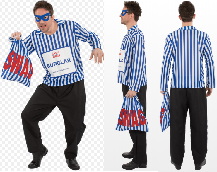 Mens Adult Basic Value Burglar Fancy Dress Costume Robber Thief Party Outfit