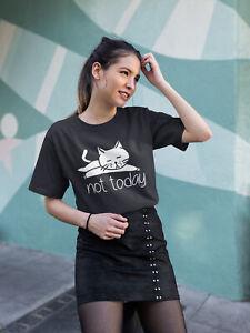 Femme-Fashion-T-shirt-PAS-AUJOURD-039-HUI-Lazy-Cat-Summer-Tee-Casual-mode-hippie-top