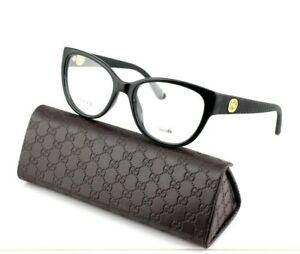 03ccbba807 RARE NEW Genuine GUCCI Womens Black Rubbe Gold Eye Glasses Frame GG ...