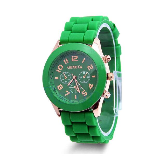 Colorful Womens Mens Geneva Silicone Jelly Gel Quartz Analog Sports Wrist Watch