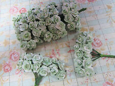 144 Mulberry Paper Rose Flower/Scrapbooking/decoration/bouquet H420-Sage/White