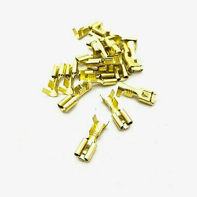100 Pcs 4.8mm Gold Brass Car Speaker Female Spade Terminal Wire Connector A*TFS