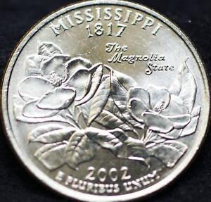2002 P Mississippi State BU Washington Statehood Quarter in Original Mint Cello