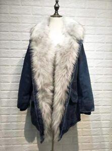 Nueva con de piel invierno sudaderas Parka recortado damas sintᄄᆭtica mujer capucha Demin abrigo chaqueta xrWX08XFqw