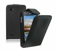 BLACK Leather Flip Case Cover Pouch Saver For LG Optimus 4X HD / P880 / Swift
