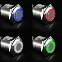 12V 16mm LED Drucktaste des Tastenschalter Silber mit Alu-Latching Flachkopf