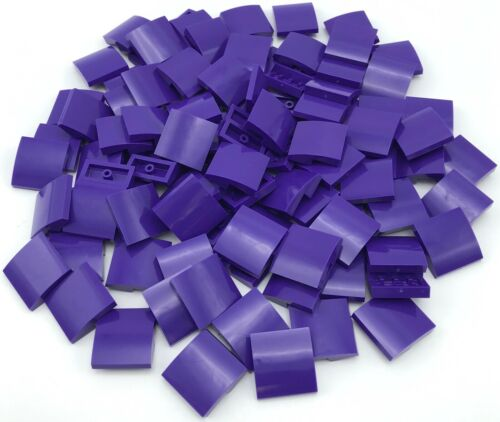 LEGO 100 New Dark Purple Slope Curved 2 x 2 No Studs Sloped Pieces