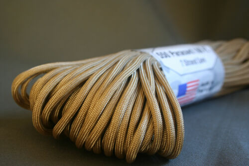 PARACORD Desert Tan 7 Strand 550LB Type III Military 100ft USA made