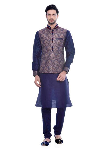 Manyavar Mens Resham Jacqaurd Kurta,Pyjama and Jacket(JAST020-306)