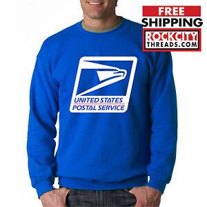 USPS LOGO POSTAL ROYAL BLUE CREW NECK Sweatshirt Chest United States Service USA