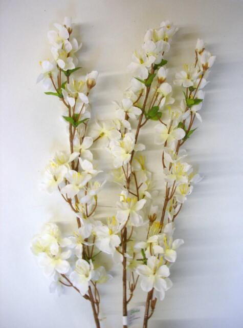 Pack x 12 Stems Silk Cherry Blossom 'Cream' Artificial Silk Flowers
