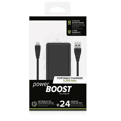 wholesale dealer e4be0 c3a6f Mophie Powerboost Portable Charger Power Bank 24 Hours Extra Battery  5,200MAH 353516072048 | eBay