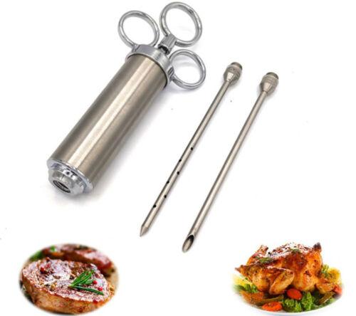 1*acciaio inox barbecue carne marinata iniettore sapore dell/'ago siringa cottura