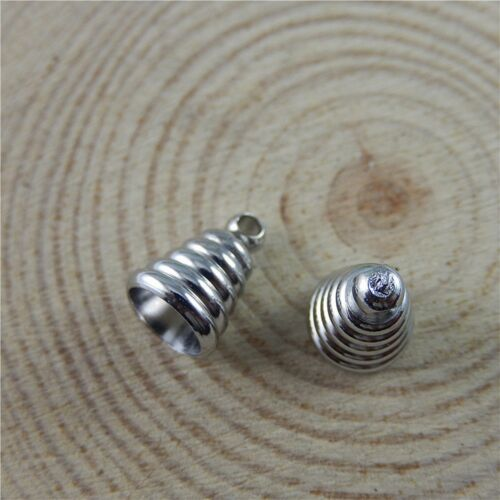 Antique Silver Alloy Spiral Cone Shaped Cap Connector Pendant Bail Charm 20PCS
