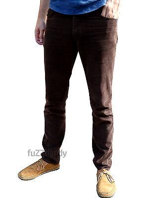 FleißIg Brown Slim Cords Corduroy Jeans Trousers Pants Vtg 80's Indie Mod Retro