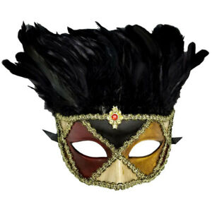 Blue and Antique Gold Harlequin Masquerade Mask for Masked Ball