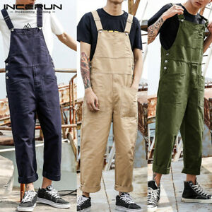 Mens Cotton Overalls Bib Suspenders Pants Casual Loose Jumpsuits Trousers S-4XL