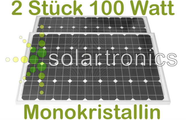 2 Stück 100 W Solarpanel Solarmodul Photovoltaik Solarzelle 2 Stck.100 WATT MONO