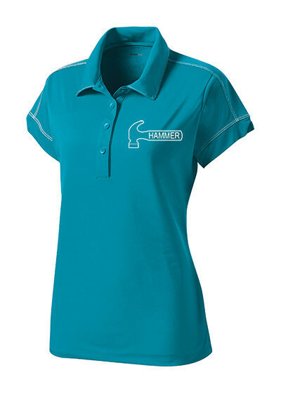 Hammer Women's Axe Performance Polo Bowling Shirt Dri-Fit Tropic bluee