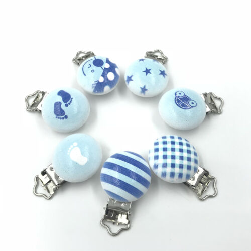 5pcs Blue series Baby Pacifier Clip Wood Teether Accessories Soother Holders