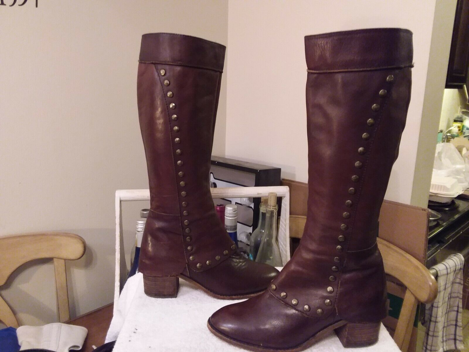 KORK-EASE LESLIE KNEE HIGH BOOTS BROWN LEATHER STUDDED 8.5B SPAT STYLE NICE