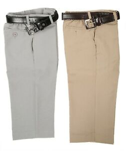 Boys-Khaki-Light-Brown-Formal-Pants-slacks-set-complete-with-faux-leather-belt