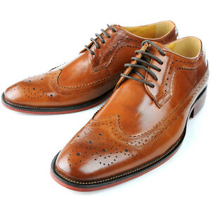 Leather Brogue Wingtip Lace Up Formal Dress Shoes oxford mens ...