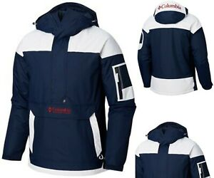COLUMBIA CHALLENGER PULLOVER JACKET NAVY 468 Men/'s Jacket WHITE /& RED