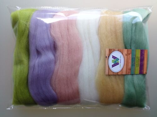 60g Packs of 6 Colours Easter Eggs set* Pure Merino Wool Tops for Felting