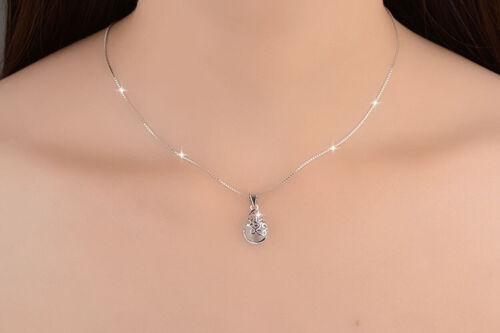 925 Silber plattiert Halskette Tropfen Mond Anhänger Damen Silberkette Farben
