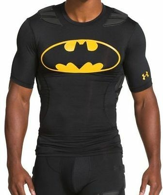 NEW UNDER ARMOUR BATMAN PADDED FOOTBALL COMPRESSION SHIRT FOR MEN 1255326 002