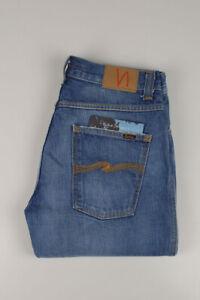 32290 Nudie Jeans Slim Jim Used Electric Indigo Bleu Hommes Jean Taille 32/34