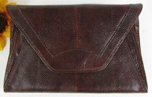 Vintage-Genuine-Chocolate-Lizard-Skin-Leather-Quality-Clutch-Handbag-Baguette