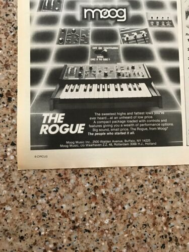 1982 VINTAGE 5X5.5 SMALL PRINT Ad FOR THE ROGUE FROM MOOG KEYBOARD//SYNTHESIZER