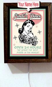 Personalized-Name-Rockabilly-Kitchen-Diner-50-039-s-Retro-Vintage-Light-Lighted-Sign