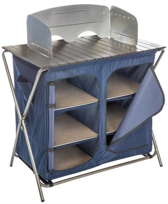 Pantry with Cook Table Roll-Out Aluminum Tabletop with Detachable Windshield