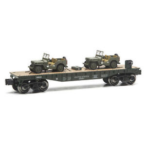 O-GAUGE-US-ARMY-FLATCAR-WITH-2-U-S-ARMY-JEEPS-FLAT-CAR-LIONEL-MTH-MENARDS