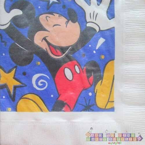 ~ Vintage Birthday Party Supplies Dinner Large MICKEY MOUSE LUNCH NAPKINS 16