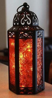 Amber Gl Moroccan Style Lantern With