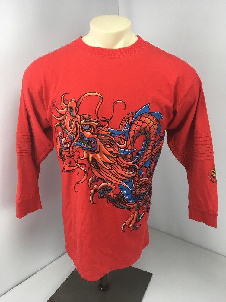 EUC VTG 90s JNCO Jeans Red Japanese Dragon Motorcycle Style L S T-shirt Sz L